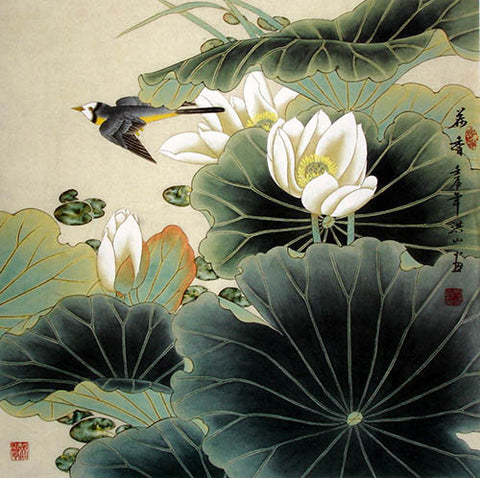 Chinese Painting,Traditional Culture,Birds Lotus Fragrance