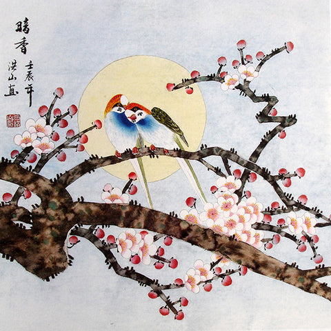 Chinese Painting,Traditional Culture,Moon Night,Birds,Flower