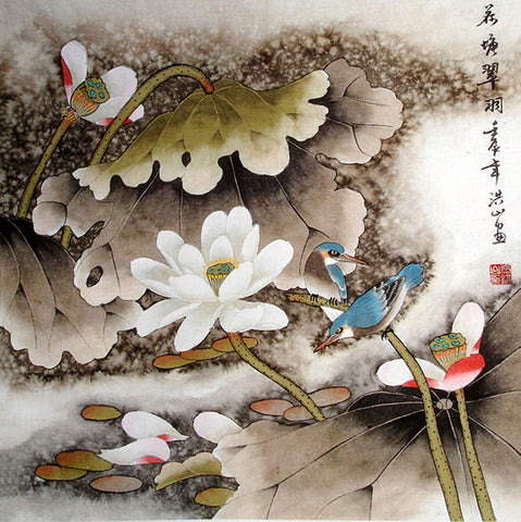 Chinese Painting,Traditional Culture,Blue Birds Lotus