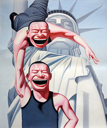 Contemporary Art,Humor,Smile Face,Man,Statue of Liberty,Oil Painting