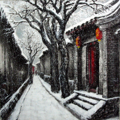 Academic,Culture,Beijing,Hutong,Snowing,Red Lantern,Chinese Painting