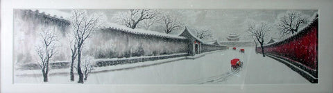 Academic,Culture,Beijing,Hutong,Snowing,Tricycle,Chinese Painting