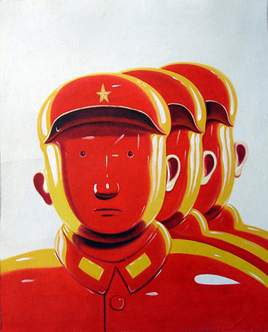Contemporary Art,Leifeng No.2,Soldier,Red,Chinese Culture,Oil Painting