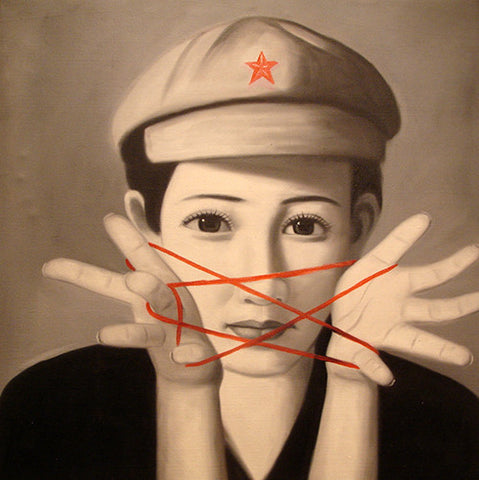 Culture Revolution,Chairman Mao,Red Five Star Girl Smile No.3,Oil Painting