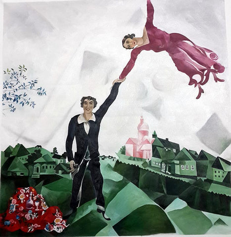 Chagall,Romance Walk,Love,Oil Painting