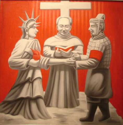 Oil Painting East Meet West Chairman Mao Terra Cotta Warriors Statue of Liberty Culture Shock