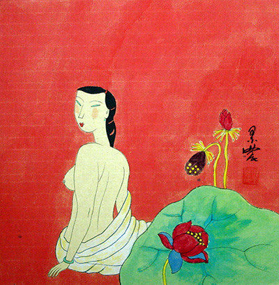 Body,Chinese Painting,Traditional Culture,Woman No.4,Bath,Lotus