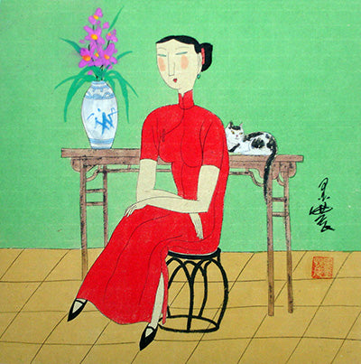 Body,Chinese Painting,Traditional Culture,Woman No.6,Cat,Flower