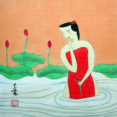 Body,Chinese Painting,Woman No.9,Traditional Culture,Lotus