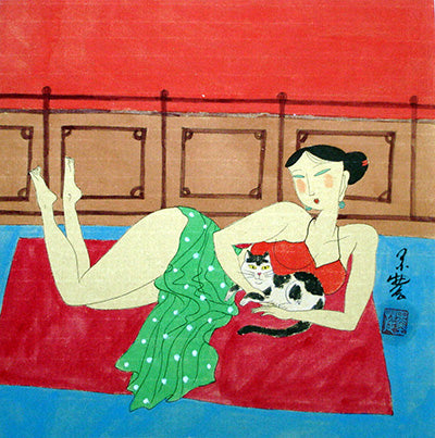 Body,Chinese Painting,Traditional Culture,Woman No.12,Cat