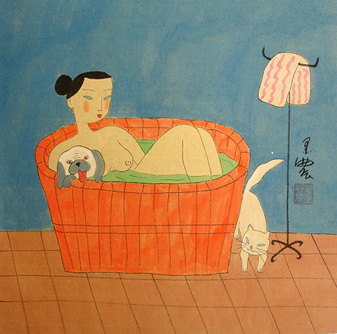 Body,Chinese Painting,Traditional Culture,Woman No.14,Fish,Bath,Dog,Cat