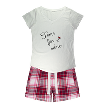 Load image into Gallery viewer, Time For Wine Sleepy Tee and Flannel Short Set