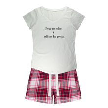 Load image into Gallery viewer, Pour Me Wine Sleepy Tee and Flannel Short Set