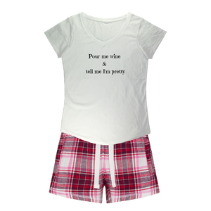 Pour Me Wine Sleepy Tee and Flannel Short Set