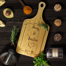 Load image into Gallery viewer, Wedding Date Personalized Bamboo Cutting Board