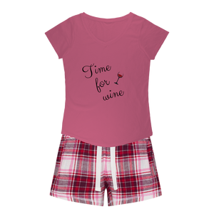 Time For Wine Sleepy Tee and Flannel Short Set