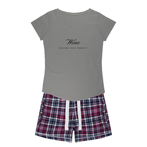 Wine Therapy Sleepy Tee and Flannel Short Set