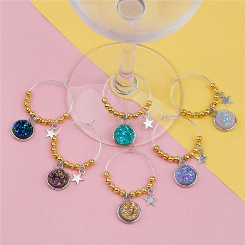 Celestial Wine Glass Charms 6-piece Set