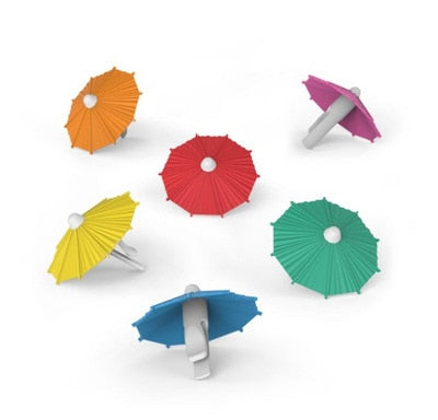 Party Umbrella Wine Glass Charms 6-piece Set