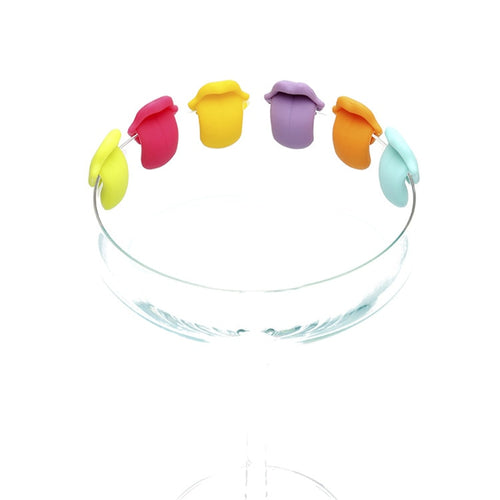 Thirsty Tongue Wine Glass Charms 6-piece Set