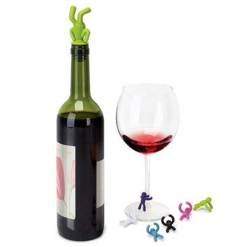 Drunk Person Wine Glass Charms + Bottle Stopper