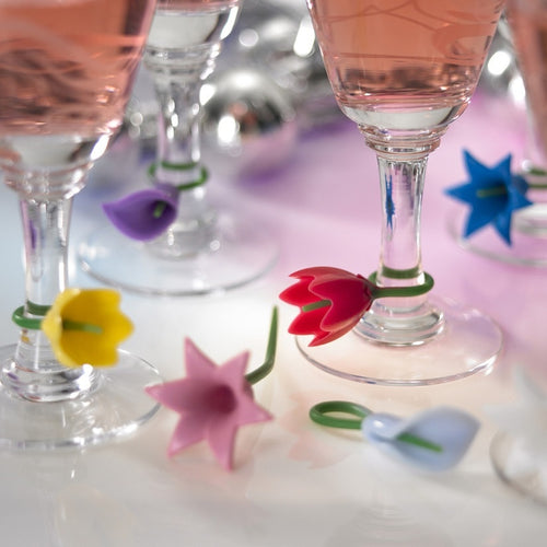 Flower Wine Glass Charms 12-piece Set