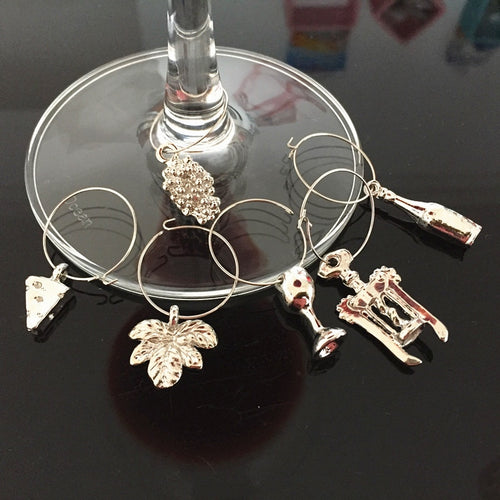 Wine Lover's Wine Glass Charms 6-piece Set