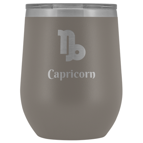Capricorn Etched Wine Tumbler