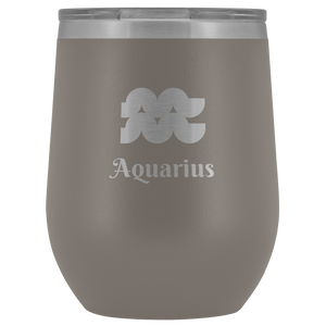 Aquarius Etched Wine Tumbler
