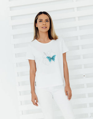 Women's Cube T-shirt - Hibiscus & Blue Butterfly