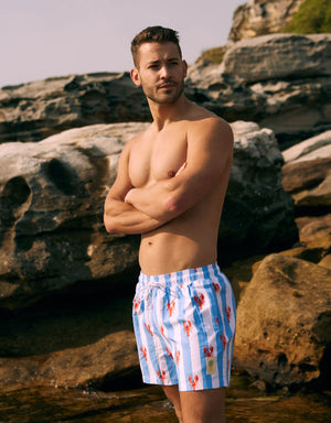 Men's Swim Shorts - Lobsters With Light Blue Stripes