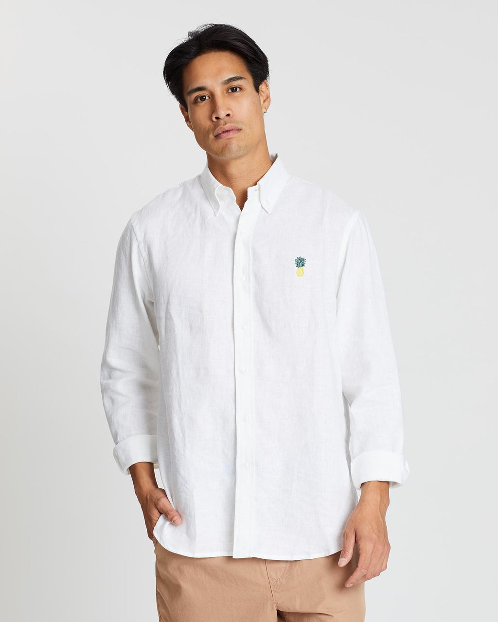 Men's Long Sleeve Linen Shirt - White