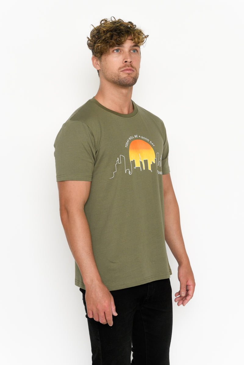 Men's Crew Neck T-shirt - Cityscape Sunrise
