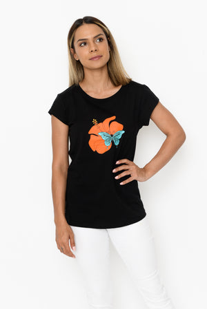 Women's Scoop Hem T-shirt - Hibiscus & Butterfly (Coral/Blue)