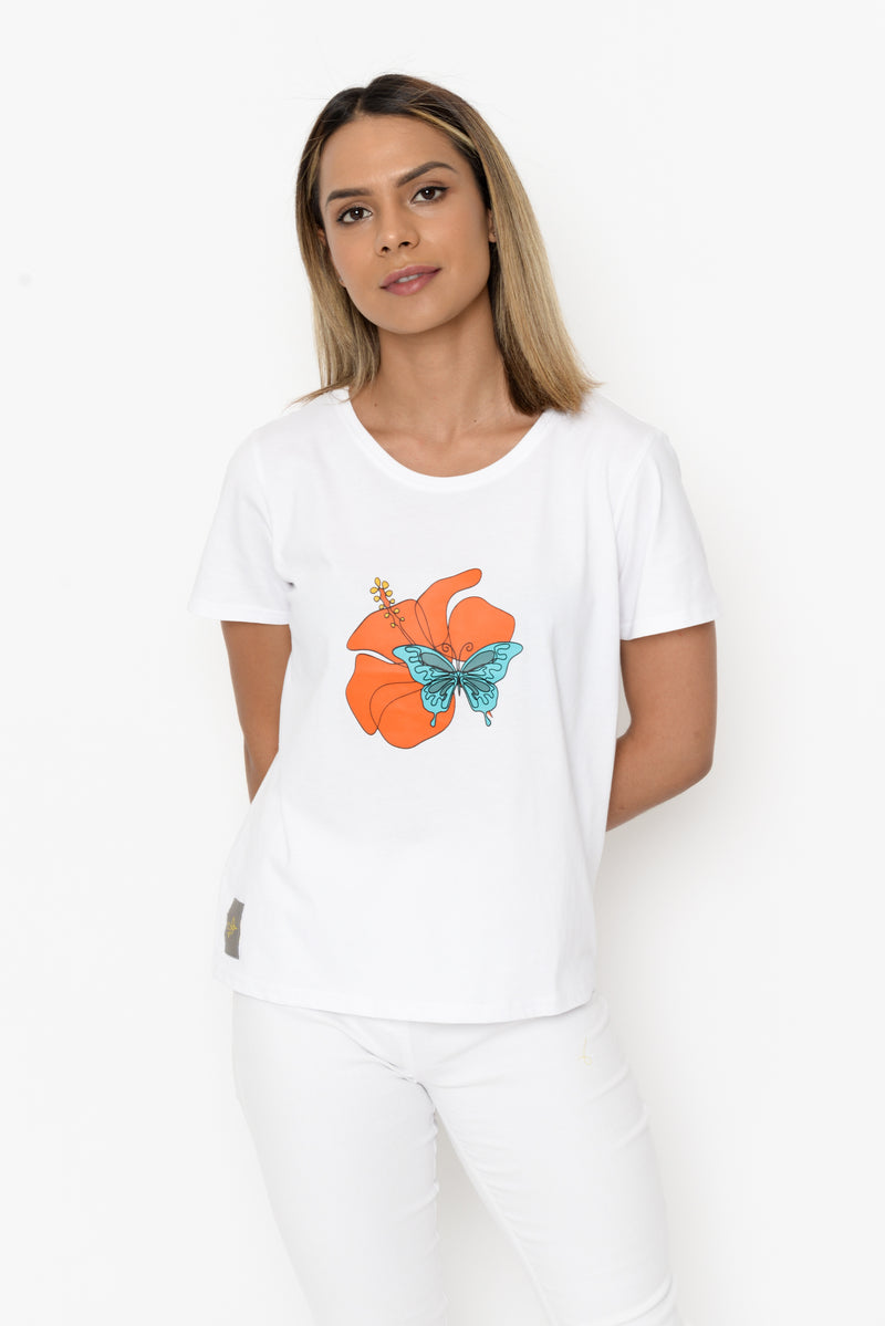 Women's Cube T-shirt - Hibiscus & Butterfly (Coral/Blue)