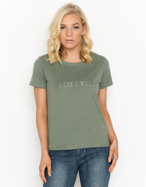 Women's Cube T-shirt - I CAN, I WILL (Embroidered)