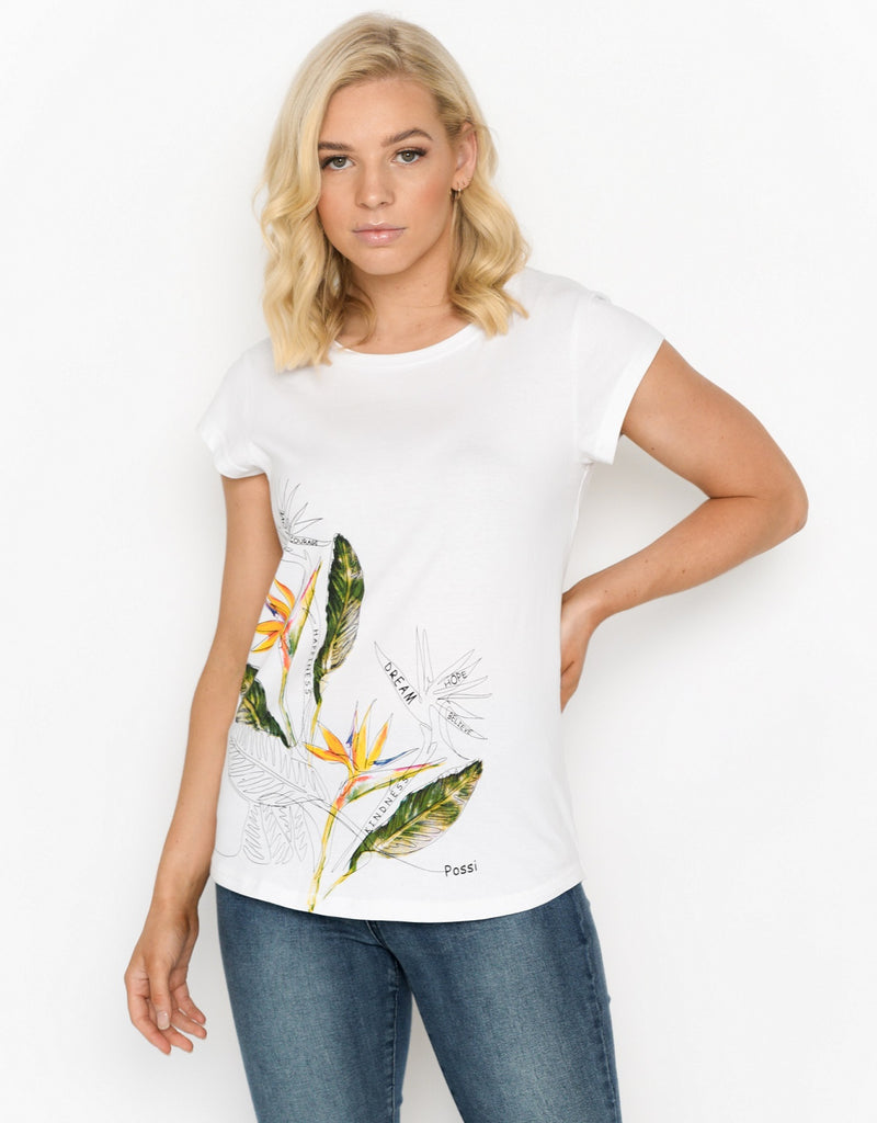 Women's Scoop Hem T-shirt - Bird Of Paradise