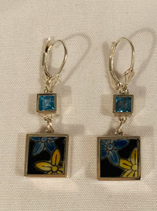 Sterling Silver Earrings; Square Porcelain (Blue & Yellow Flowers) and Blue Topaz stones