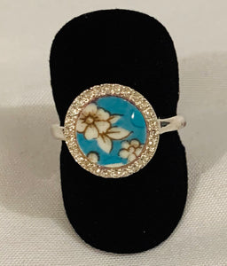 Sterling Silver Ring; Porcelain Round (Turquoise & White flower) and white topaz stones