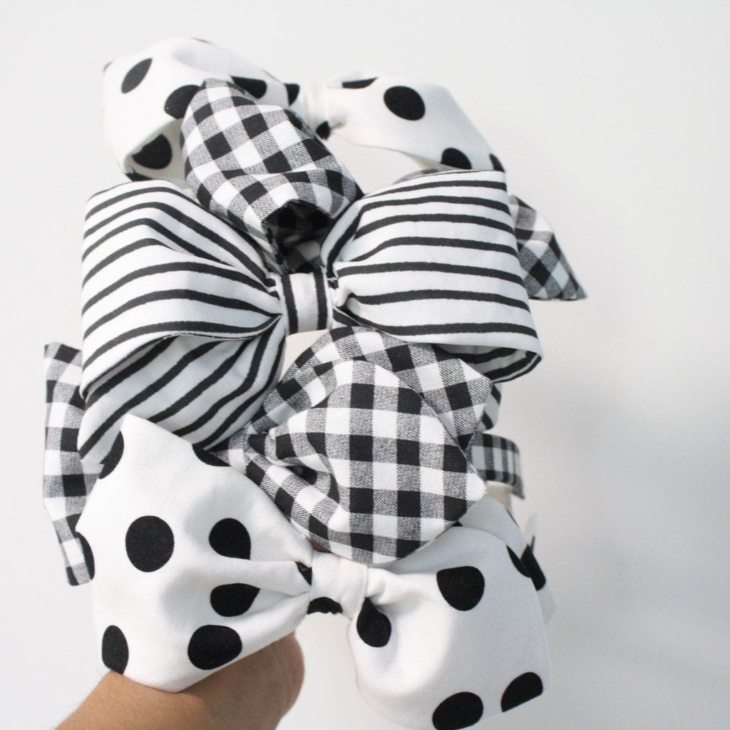 BLACK GINGHAM Beaky Headband
