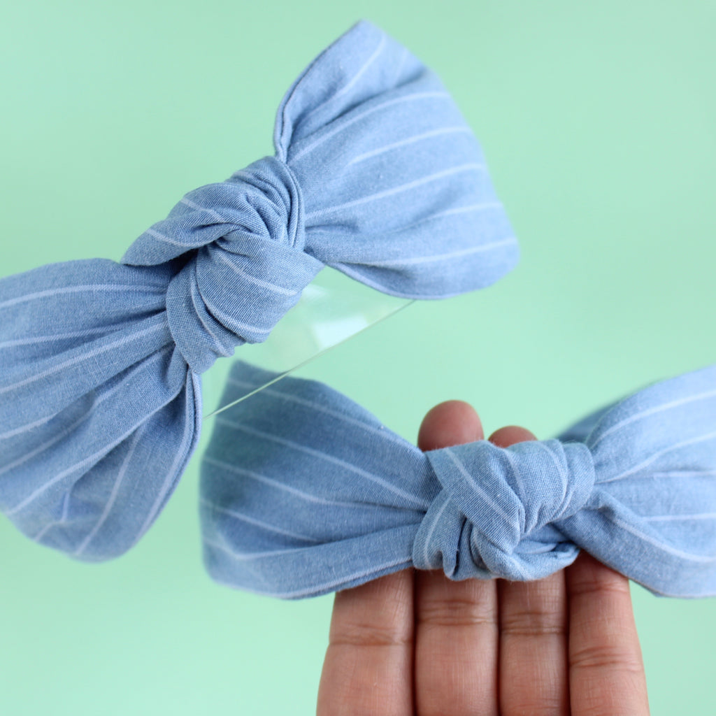 DENIM STRIPES Knotted Headband