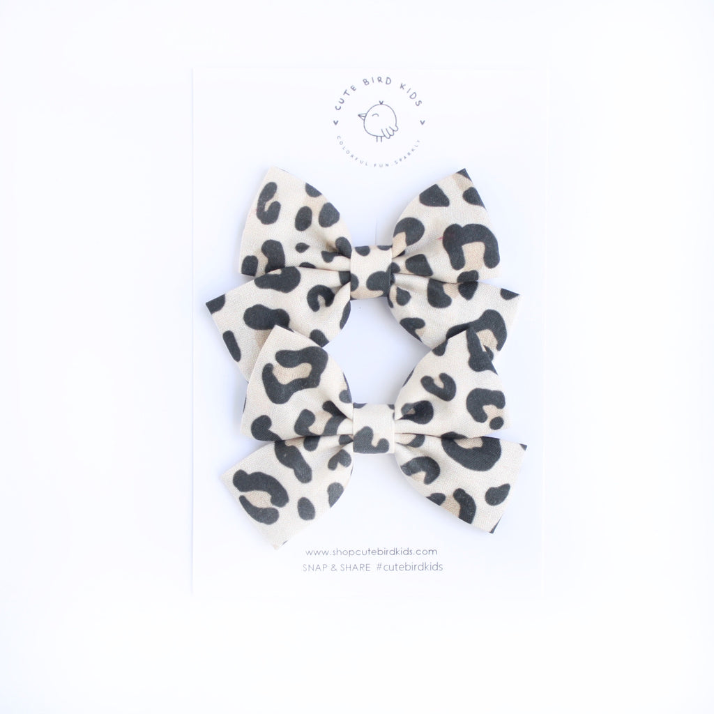 CREAM LEOPARD Mini Laraline Pigtails