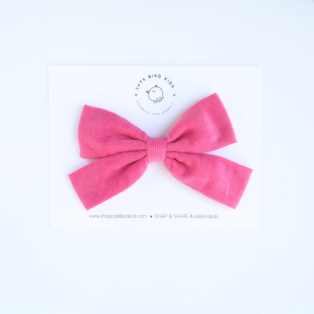HOT PINK CORDUROY Slim Ava Bow