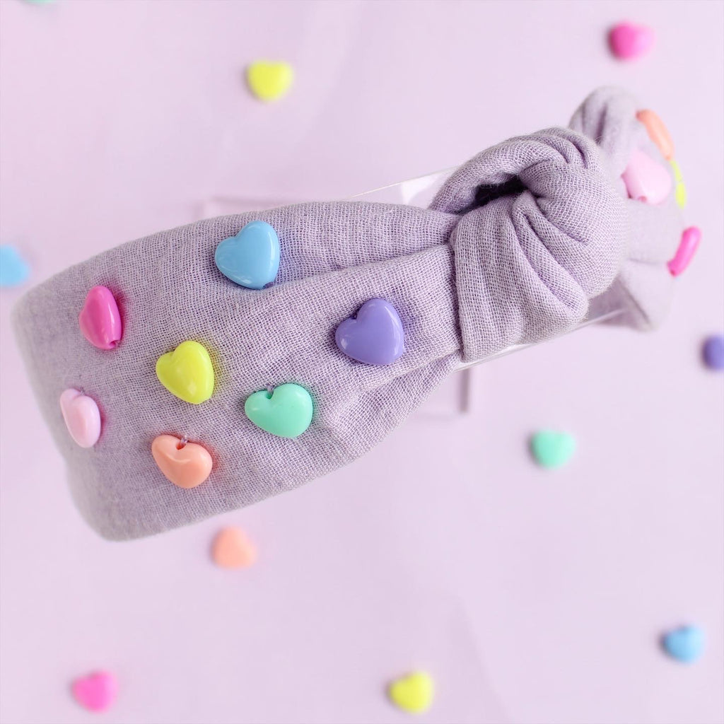 RAINBOW HEARTS Knotted Headband