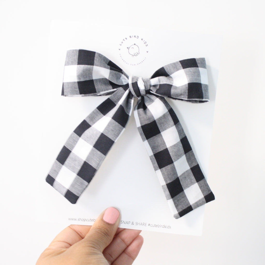 BLACK GINGHAM Lady Bow