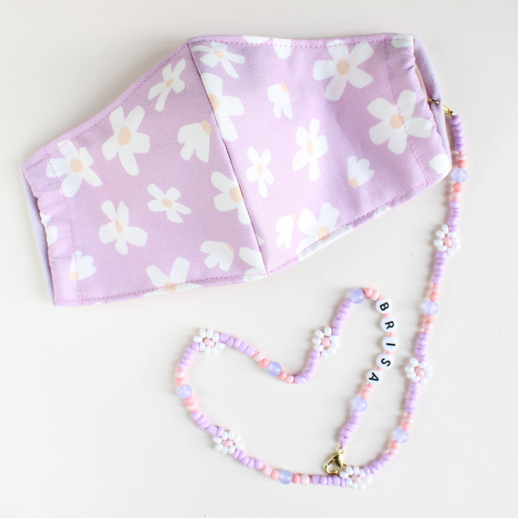LILAC DAISIES Face Mask Necklace