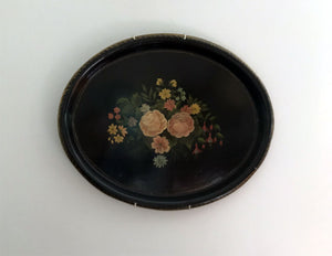 Found: Folk Art Black Tole Metal Platter