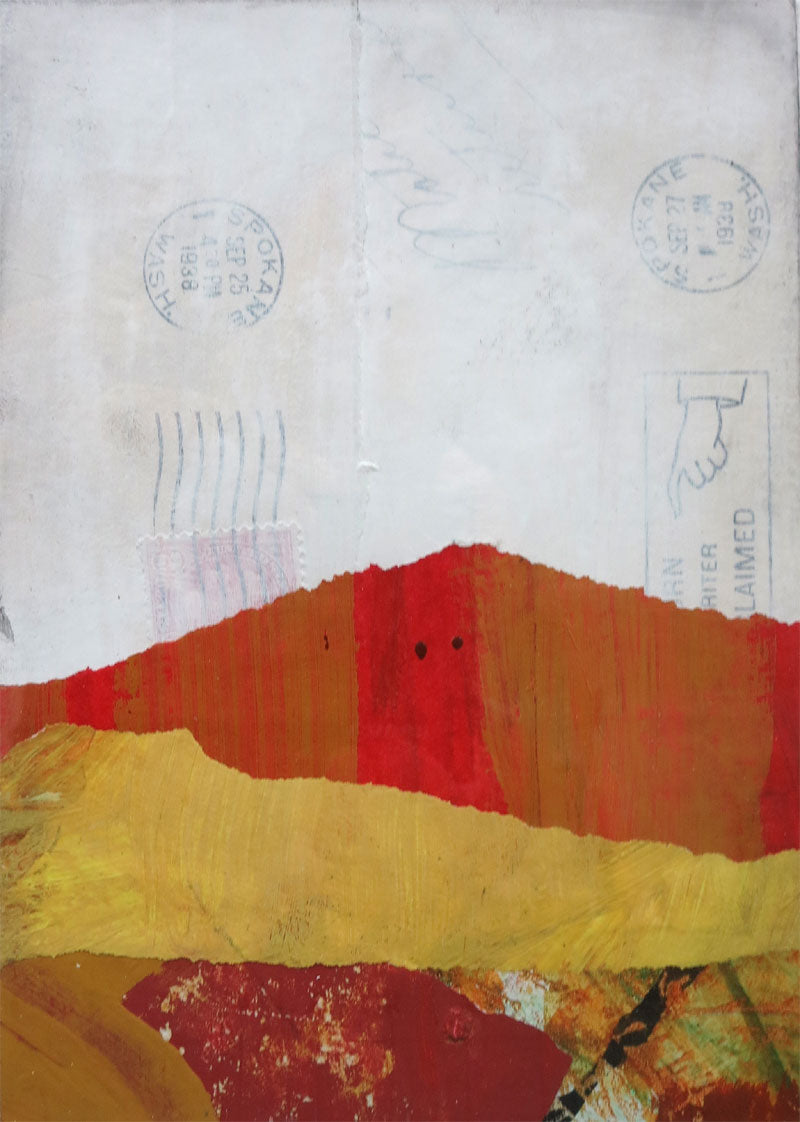 Michelle Trahan Carson: Mail Landscape Series No.2, original collage art