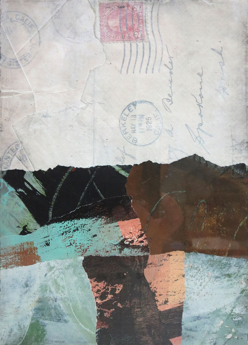 Michelle Trahan Carson: Mail Landscape Series No.3, original collage art