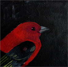 Load image into Gallery viewer, Bridgette Guerzon Mills: Scarlet Tanager, matted gouache painting
